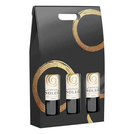 - Valisette carton 3 bouteilles - Décor noir