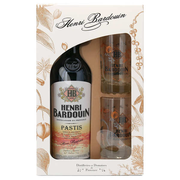 Coffret signature Pastis Henri Bardouin et 4 verres 45%