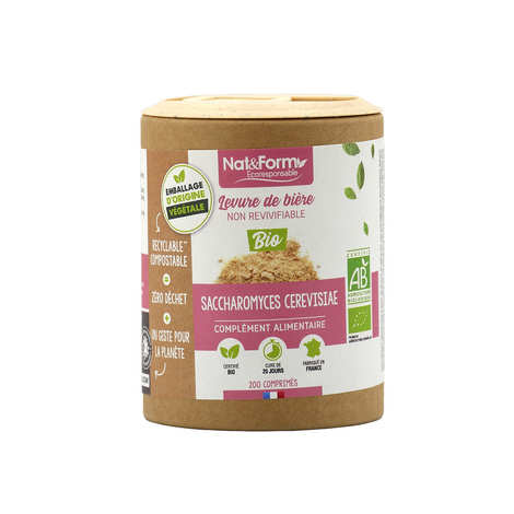 Nat&Form - Levure de bière bio - 200 gélules (500mg par gélule)