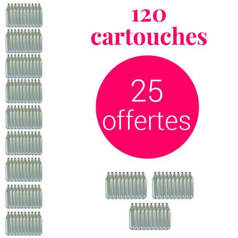 - 95 cartouches de 8g de N2O pour siphon chantilly + 25 offertes