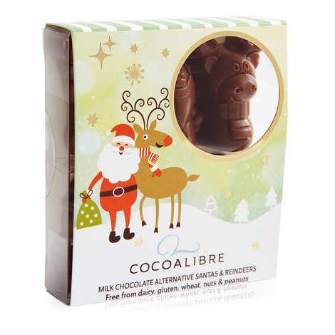 CocoaLibre - Rennes de noël et Pères Noël au chocolat au lait sans gluten et sans lactose