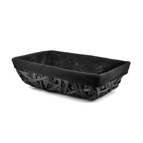 - Grey Wicker Basket with Black Fabric Lining