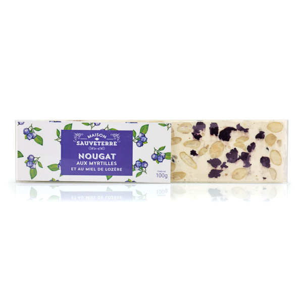 Bar of Soft White Nougat with Blueberry