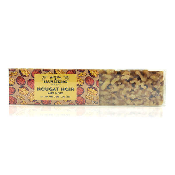 Bar of Black Nougat with Walnuts