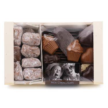 Assortiment de chocolats en cagette bois - 400g