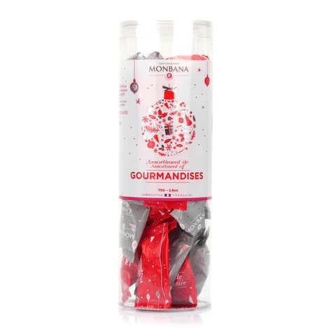 Monbana Chocolatier - Tube de gourmandises (Billes de céréales et amande enrobées de chocolat)