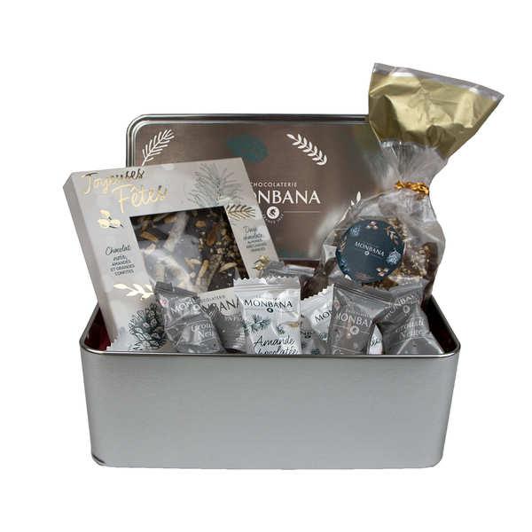 Boîte métal garnie Chocolats Monbana