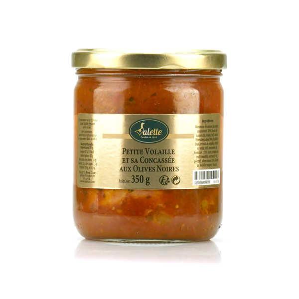 Volaille mijotée à la concassée de tomates et olives noires