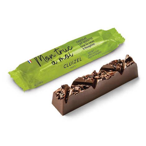Michel Cluizel - Barre chocolat lait 45%, grué de cacao, nougatine, pâte de noisette