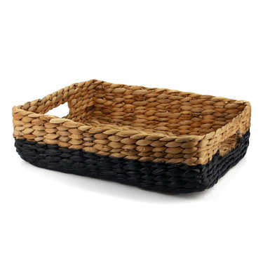 Natural Wicker Basket Half Painted in Black