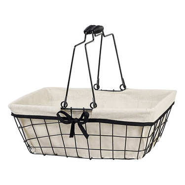 Metal basket with gunmetal finish