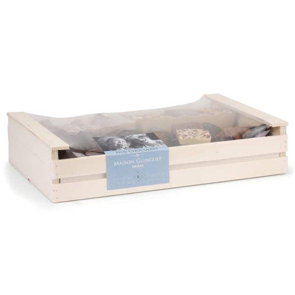 Assortiment de chocolats en cagette bois - 720g