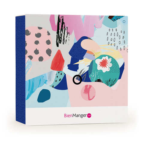"""BienManger.com - Boite cadeau BienManger.com décorée """"Collage Abstrait"""""""