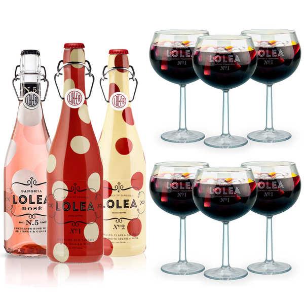 Assortiment premium sangrias Lolea et leurs verres