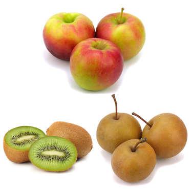 Assortiment de pommes, kiwis et nashis bio