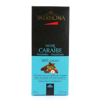 Valrhona - Tablette de chocolat noir Caraïbe 66% éclats de noisette - Valrhona