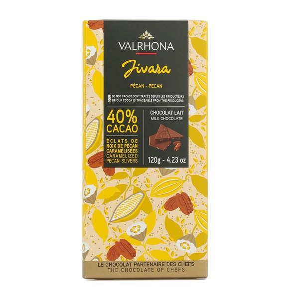 Bar of Milk Chocolate Jivara 40% with Pecan Nuts - Valrhona