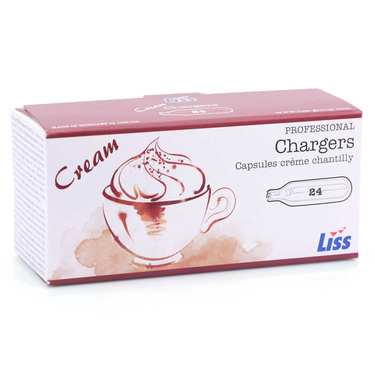 24 chargers for whipped cream and mousse dispensers (8g N2O)