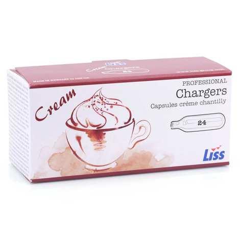 Liss - 24 cartouches de gaz pour siphon (8g de N2O) Chantilly
