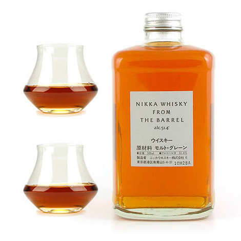 Whisky Nikka - Nikka Whisky from the barrel 51.4% and its 2 glasses