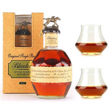 Whisky Blanton's Original single barrel bourbon 46.5% and its 2 glasses
