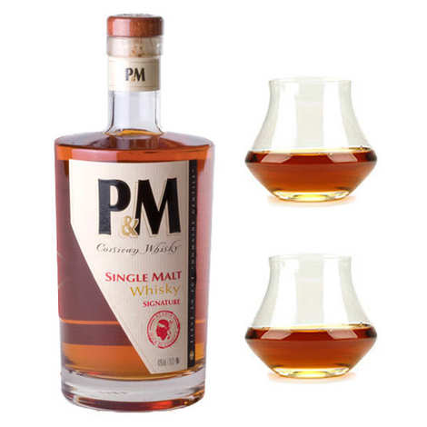 Distillerie Mavela - P&M Single Malt Signature Whisky from Corsica 42% and its 2 glasses
