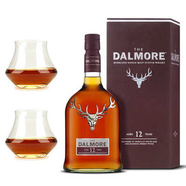 Dalmore 12 years whisky 40% and 2 glasses assortment