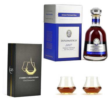Rhum Diplomatico Single Vintage 43% et 2 verres de dégustation