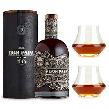 Don Papa Rum 10 year old 43% and its 2 glasses