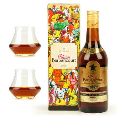 Barbancourt Réserve du Domaine 15 years old 43% and 2 glasses assortment