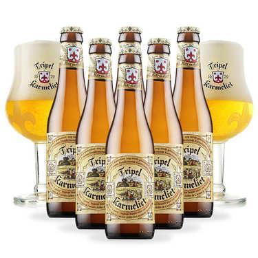 Assortiment bières Triple Karmeliet 8% et 2 verres de dégustation