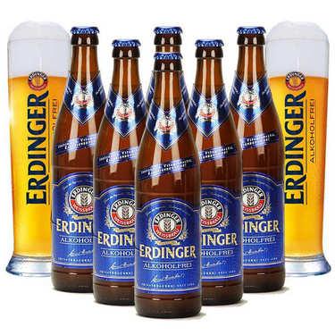 Assortiment bières blondes Erdinger Alkoholfrei et leurs 2 verres