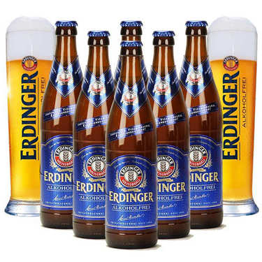 Erdinger lager alcohol free and 2 glasses discovery offer