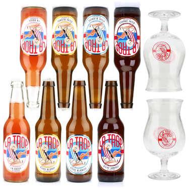 Assortiment de 8 bières La Trop et 2 verres de dégustation