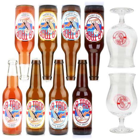 Brasserie Carteron - Assortiment de 8 bières La Trop et 2 verres de dégustation