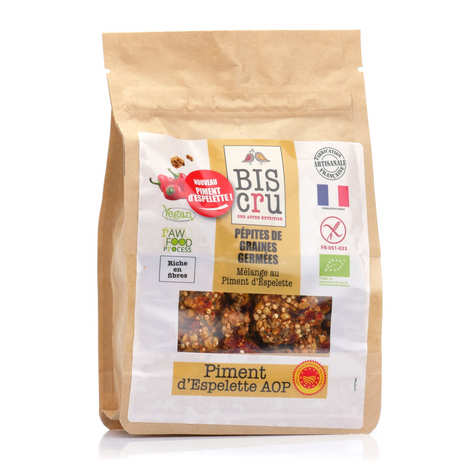 Biscru - Organic Sprouted Seeds Chips - Espelette Pepper