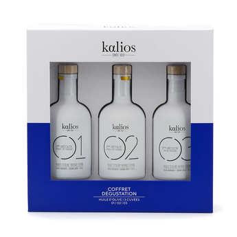 Kalios - Coffret bois 3 huiles d'olive premium grecques