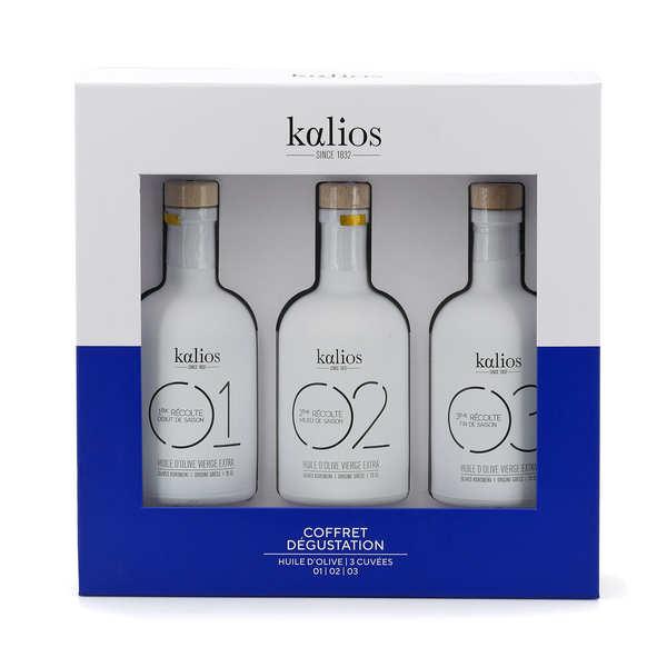 Coffret bois 3 huiles d'olive premium grecques