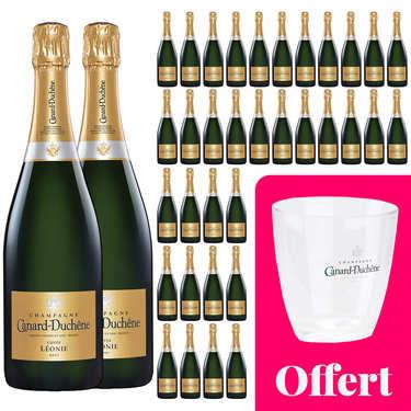 36 bouteilles Champagne Canard Duchêne Cuvée Léonie Brut et 1 seau offert
