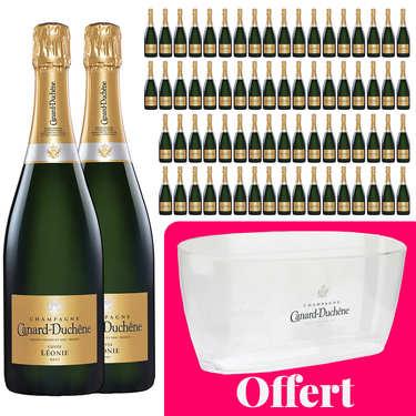 72 bouteilles Champagne Canard Duchêne Cuvée Léonie Brut et 1 vasque offerte