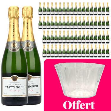 72 bouteilles Champagne Taittinger Brut Prestige et 1 vasque offerte