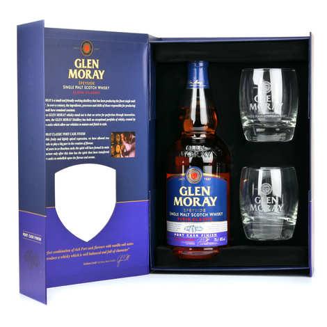 Glen Moray - Whisky Glen Moray Port Cask Finish - Coffret 2 verres -  40%