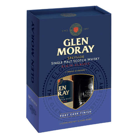 Glen Moray - Whiskey Glen Moray Port Cask Finish - Box 2 glasses - 40%