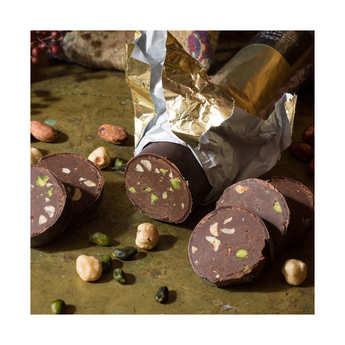 Hadrien chocolatier - Bûche à l'ancienne chocolat praliné - Hadrien chocolatier