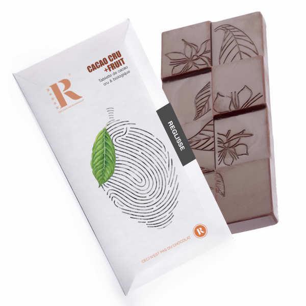 Tablette de chocolat cru (77%) et réglisse bio