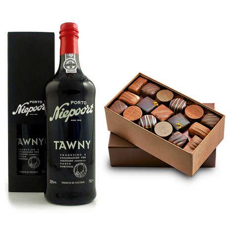 - Assortiment ballotin de chocolat et Porto Niepoort Tawny 20%