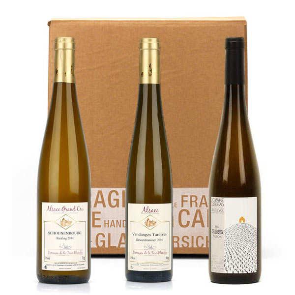 Box 3 grands vins d'alsace - 2 bouteilles de 75cl et 1 bouteille de 50cl