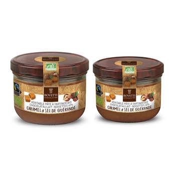 Bovetti chocolats - Véritable pâte à tartiner chocolat au lait caramel sans huile de palme bio