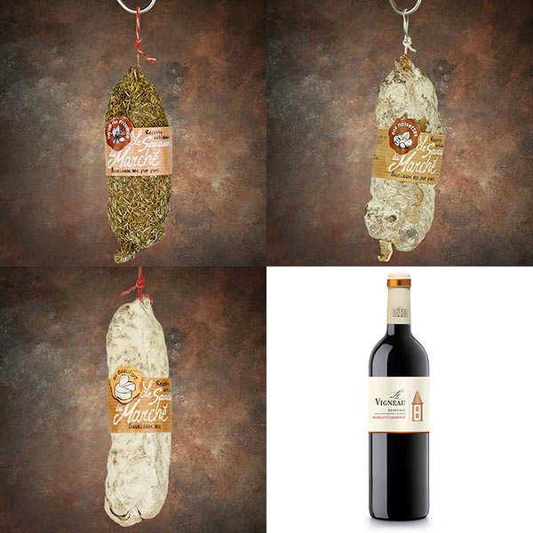 Assortiment saucissons peguet savoie et la bouteille de vin rouge - 3 saucissons de 150g minimum et 1 bouteille de 75cl