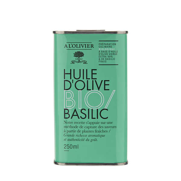 Huile d'olive vierge extra au basilic bio - A l'Olivier